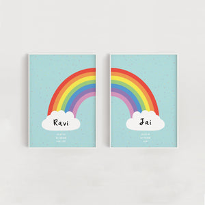 Rainbow Sprinkles Personalised Twin Nursery Print Set