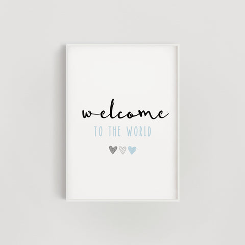 Blue Hearts Welcome to the World Nursery Print