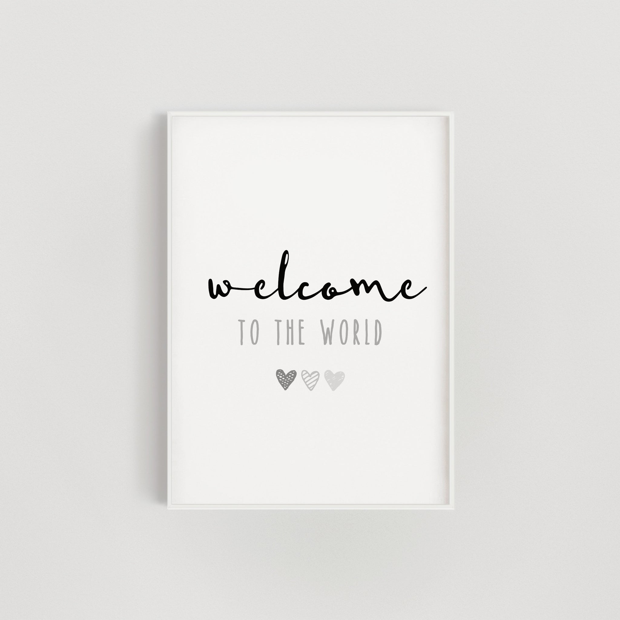 Grey Hearts Welcome to the World Nursery Print