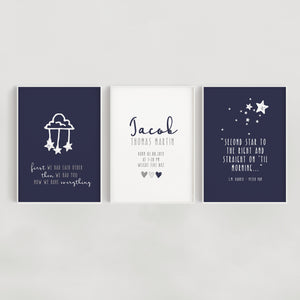 Clouds and Stars Set of 3 Personalised Nursery Prints - Navy