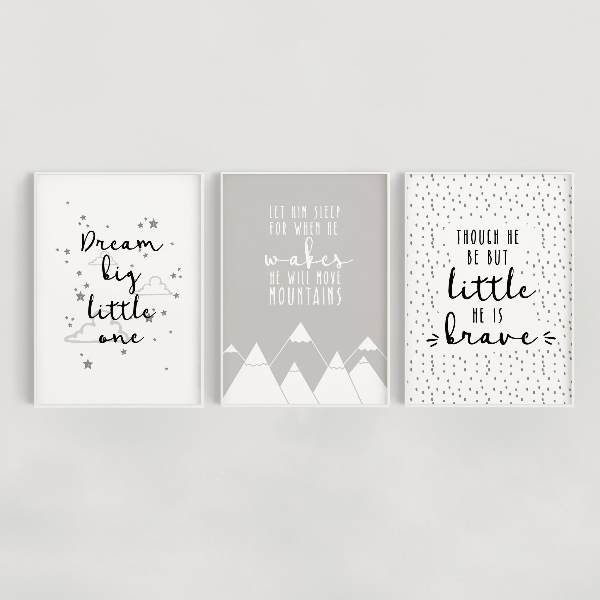 Little Dreamer Set of 3 Nursery Prints - Grey