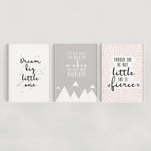 Little Dreamer Set of 3 Nursery Prints - Pink