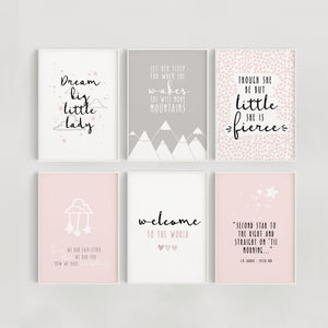 Little Dreamer Set of 6 Nursery Prints - Pink