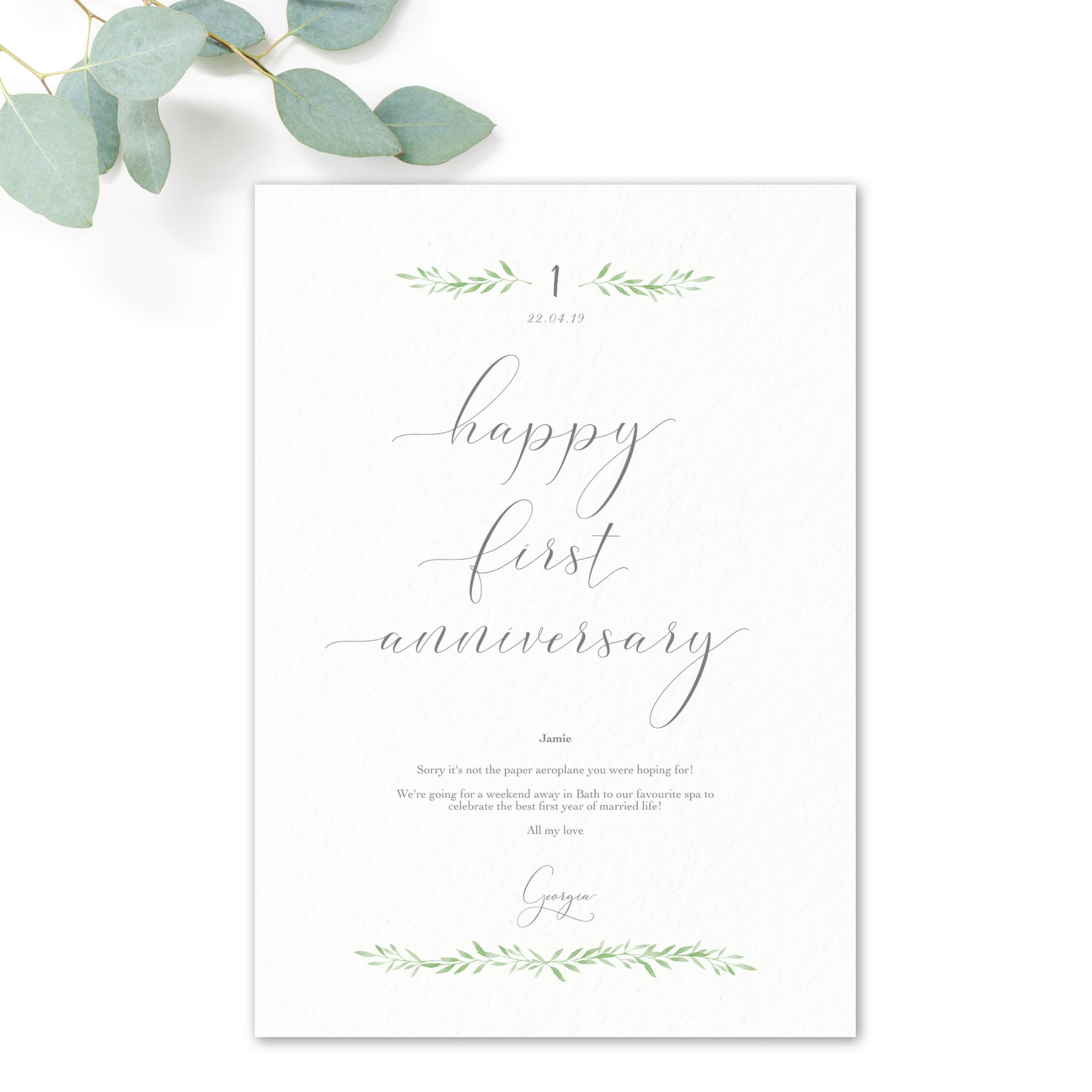 First Anniversary 'Paper' Personalised Gift Voucher
