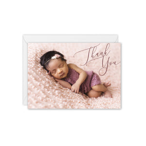 Elegant Baby Photo Thank You Card - Custom Colour