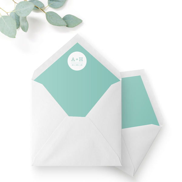 Polly Polka Dot Green Wedding Envelope Liner Monogram