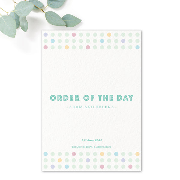 Polly Polka Dot Wedding Order of the Day