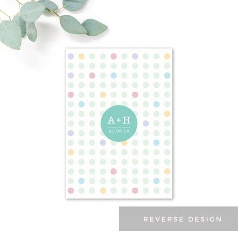 Polly Polka Dot Green Wedding Invitation RSVP Card