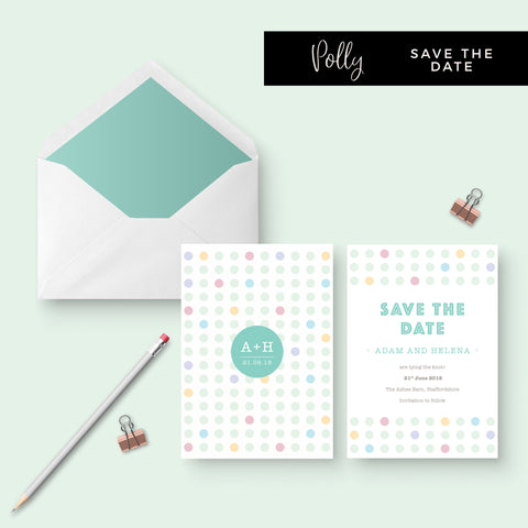 Polly Polka Dot Green Wedding Save the Date