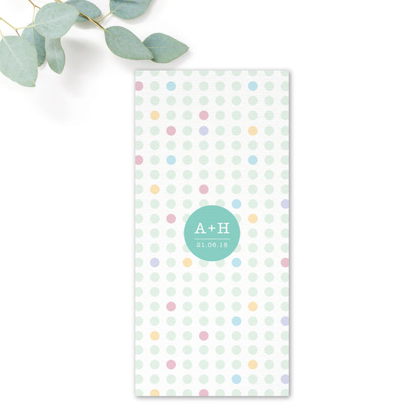 Polly Polka Dot Wedding Menu Card