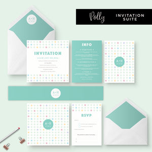 Polly Polka Dot Green Wedding Invitation Bundle