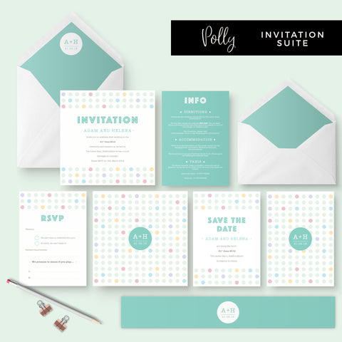 Polly Polka Dot Green Wedding Invitation Suite
