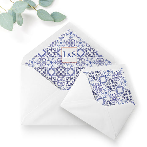 Porto Blue and White Personalised Wedding Envelope Liner