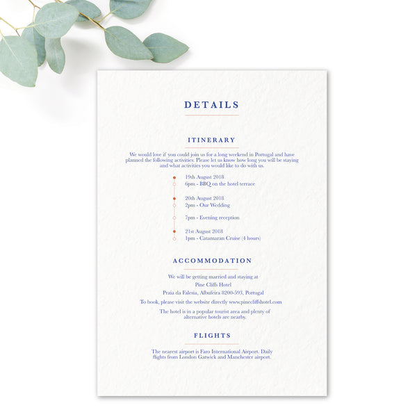 Porto Blue and White Personalised Wedding Information Card