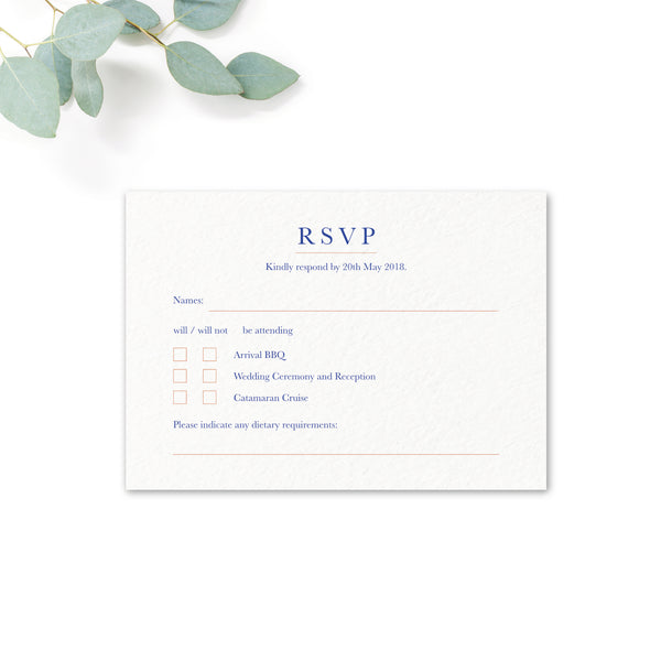 Porto Blue and White Personalised Wedding RSVP