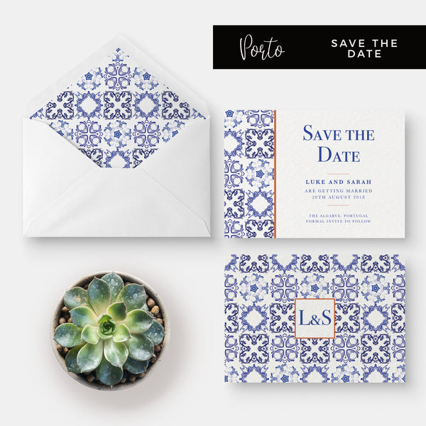 Porto Blue and White Personalised Wedding Save the Date
