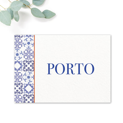 Porto Patterned Tile Wedding Table Names