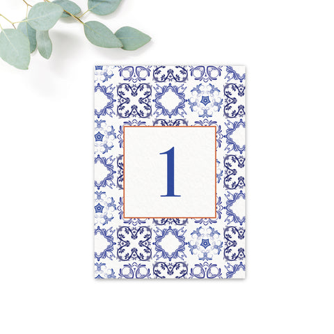 Porto Patterned Tile Table Numbers