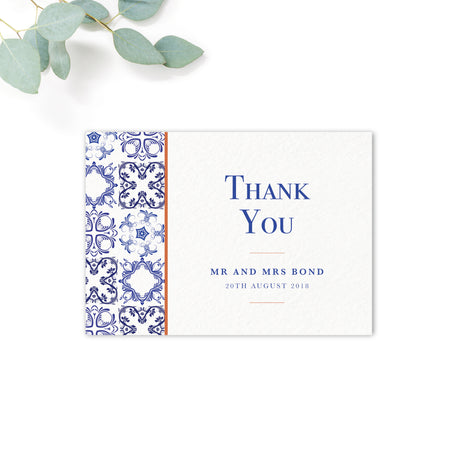 Porto Patterned Tile Thank You Card