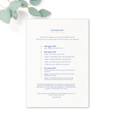 Porto Patterned Tile Order of Service Wedding Itinerary