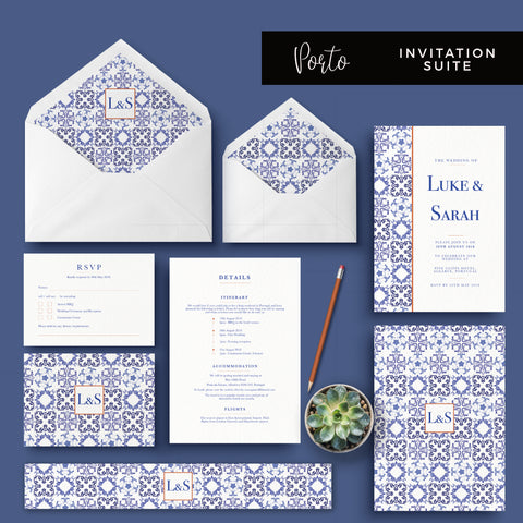 Montpellier Dusky Powder Blue Wedding Invitation Bundle