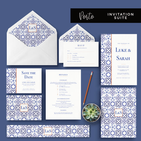 Porto Blue and White Personalised Wedding Invitation Suite