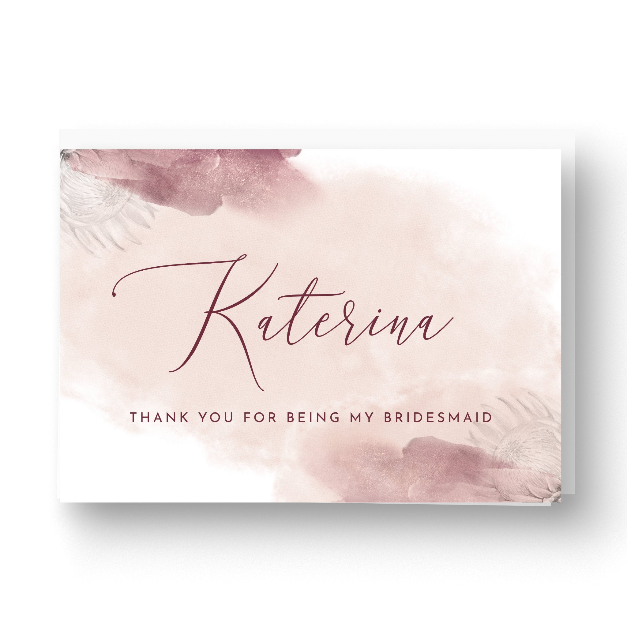 Protea Personalised Thank You Card for Bridesmaid / Maid of Honour / Best Man etc.