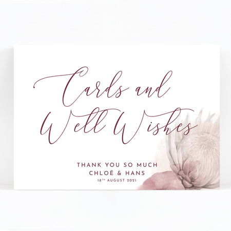 Protea Wedding Wishing Well Cards and Gifts Sign / Print