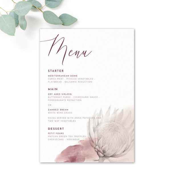 Protea Personalised Wedding Menu Cards