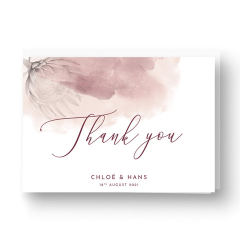 Protea Personalised Thank You Card - A5 Folded