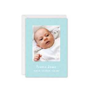 Rainbow Sprinkles Baby Photo Thank You Card - Blue