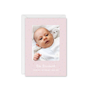 Rainbow Sprinkles Baby Photo Thank You Card - Pink