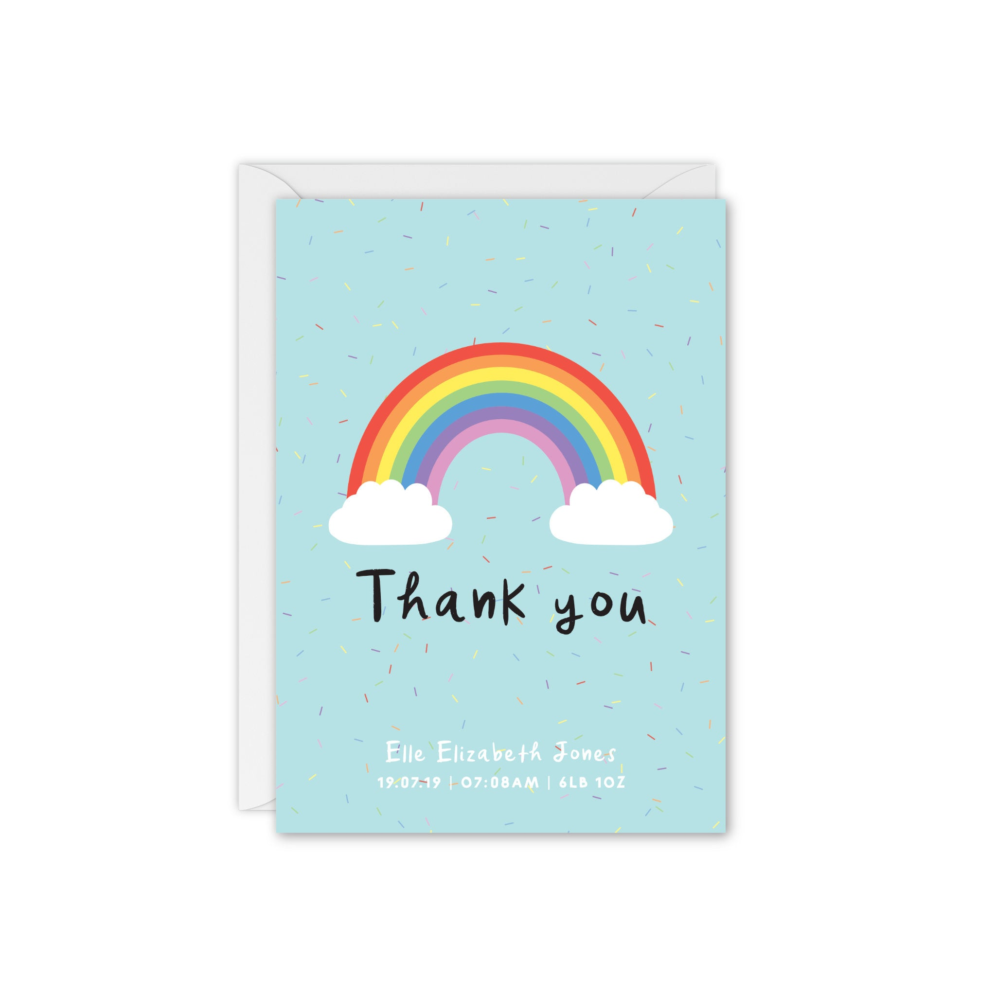 Rainbow Sprinkles Baby Announcement / Thank You Card