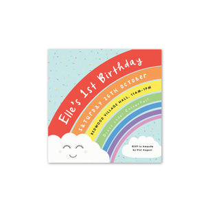 Rainbow Sprinkles Personalised Kids Birthday Party Invitation
