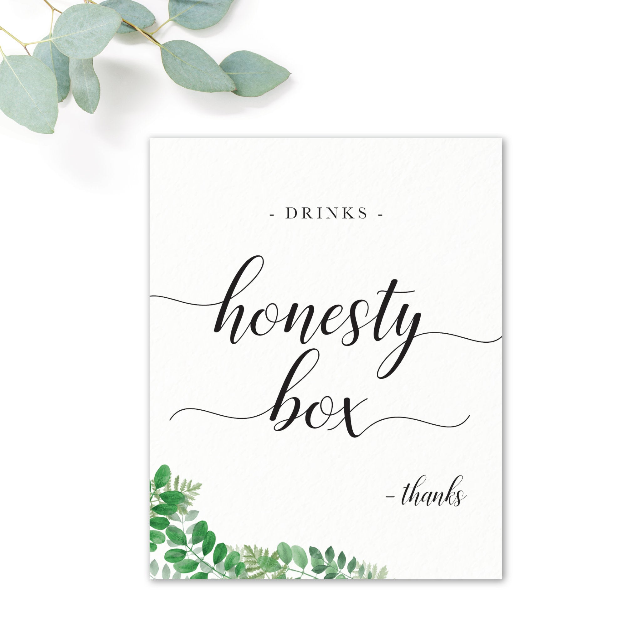 Richmond Wedding Drinks Honesty Box Sign / Print