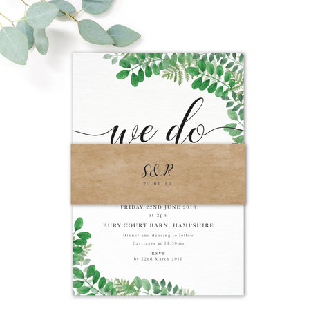 Richmond Greenery Wedding RSVP Card with Monogram reverse design