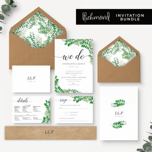 Richmond Greenery Wedding Invitation Bundle with Foliage Design 'We Do' Kraft Envelopes