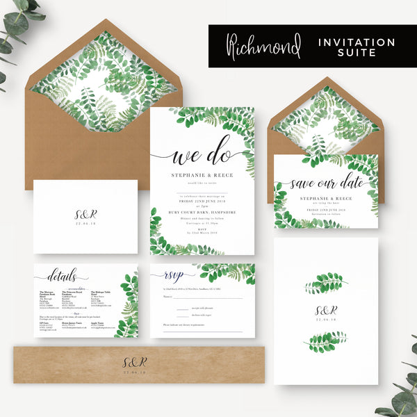 Richmond Greenery Wedding Invitation Suite with Foliage Design 'We Do' Kraft Envelopes