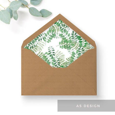 Richmond Greenery Wedding Envelope Liners A6