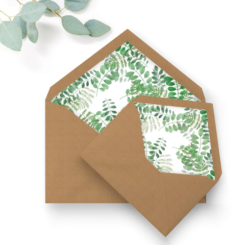 Richmond Greenery Wedding Greenery Foliage Envelope Liners