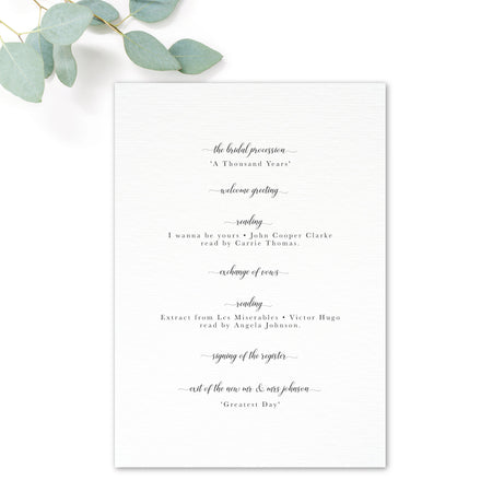 Richmond Greenery Wedding Order of Service Reverse Design