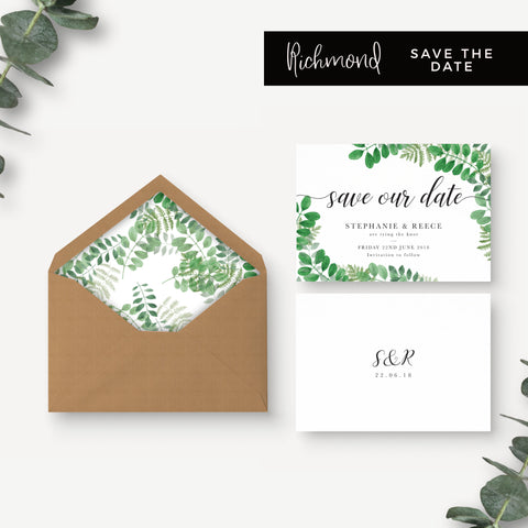 Richmond Greenery Wedding Save the Date Suite with Foliage Design 'Save Our Date' Kraft Envelopes