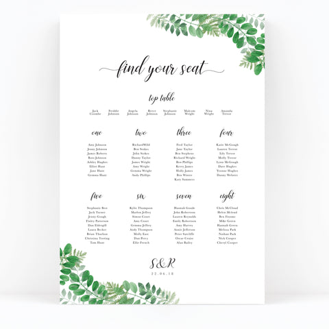 Richmond Greenery Wedding Foliage Table Seating Plan