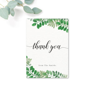 Richmond Greenery Wedding Thank you card personalised with name