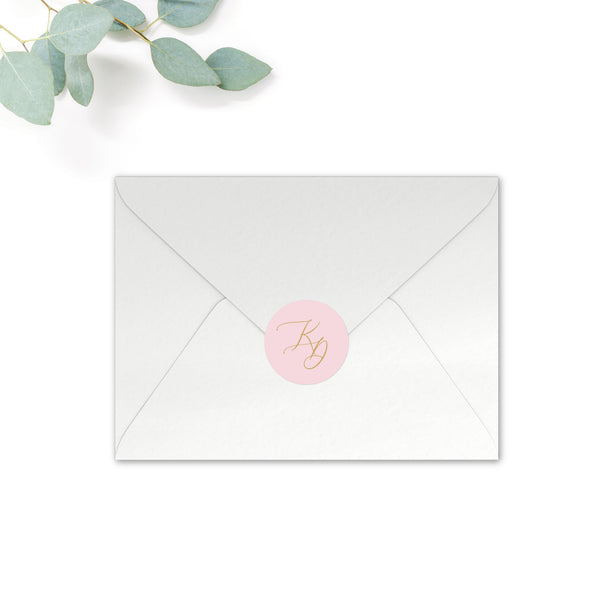 Rosa Personalised Round Wedding Seal Stickers for Envelopes