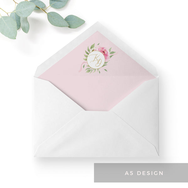 Rosa Blush Greenery Floral Print Wedding Envelope Liner with Monogram A5