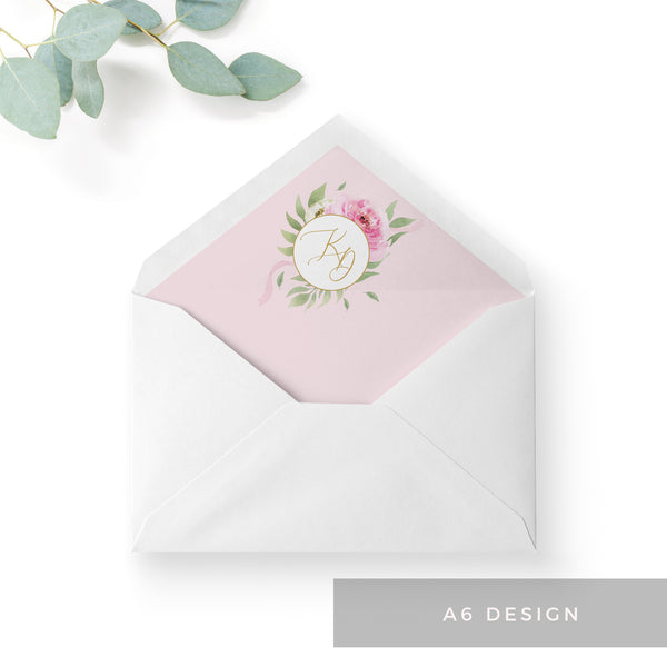 Rosa Blush Greenery Floral Print Wedding Envelope Liner with Monogram A6
