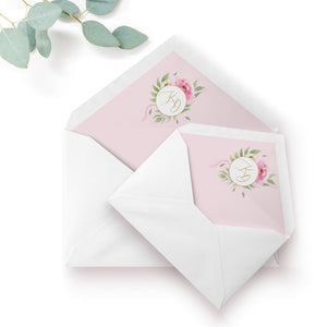 Rosa Blush Greenery Floral Print Wedding Envelope Liner with Monogram