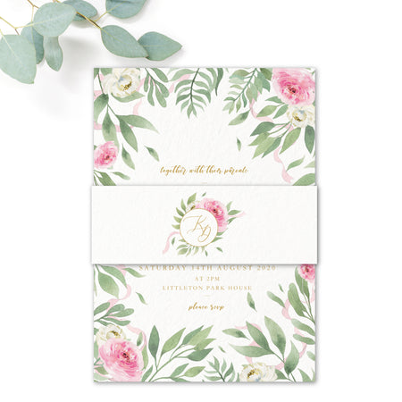 Rosa Blush Greenery Floral Print Wedding Belly Band white with monogram