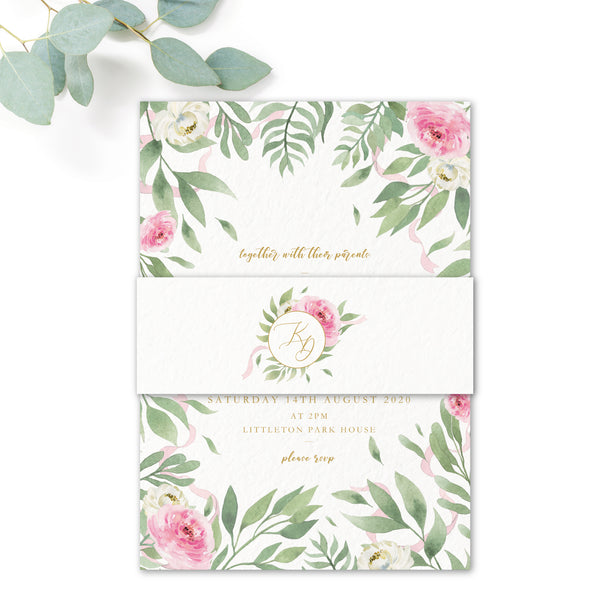 Rosa Blush Greenery Floral Print Wedding Invitation with Belly Band white with monogram